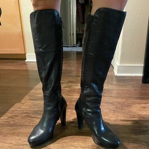 Cole Haan black leather knee length platform boots